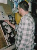 Thomas Delohery working on the Harris pieces in his old studio in Clare.
