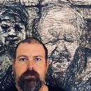 Portrait in progress of Child Holocaust Survivor Henri Korn.
